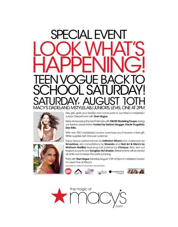 teen vogue event, back to school fashion, dee trillo, haute frugalista, macys event miami,
