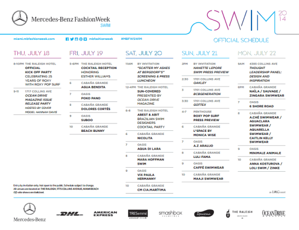 miami swim events, miami events, mbfw swim events, ocean drive mag events, mbfw raleigh, mercedes benz swim miami