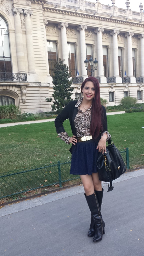 in Paris wearing Charlotte Russe textured skirt, blazer and leopard blouse| Michael Kors boots